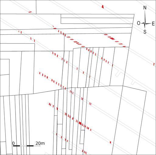 Plan des creusements linéaires des Nivelles reportés sur la trame parcellaire de 1820. © O. Bauchet, D. Couturier, N. Gomes, Inrap