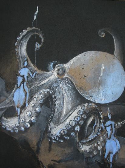 La pieuvre. format 60 x 70 acrylique sur lin de Madrid. juillet 2011