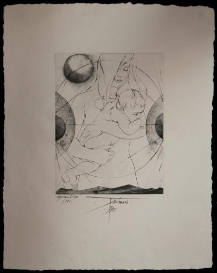 Pierre Yves Trémois,Lithographie,Maternité,1965