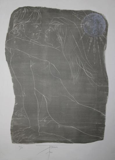 Pierre Yves Trémois,Lithographie,Couple enlacé,1966
