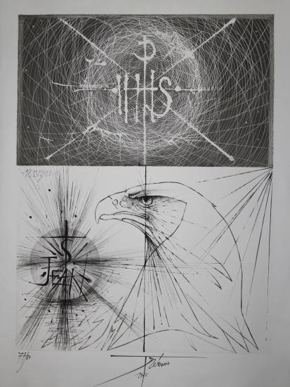 Pierre Yves Trémois,Gravure (Pointe sèche),L'aigle de la St Jean,1966