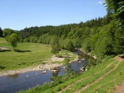 à l'Ouest:la rivière Lignon à 50m de la maison,réputée pour ses truites farios