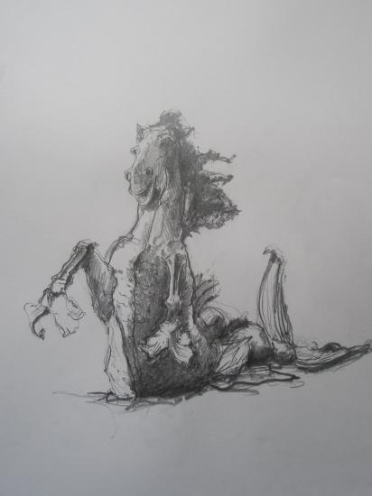 Cheval quinconces. Crayon 2B. Format 29,7 x 42. Juillet 2011
