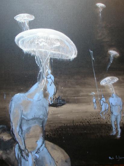 Les méduses. Acrylique sur lin de Madrid. Format 60 x 73. Juillet 2011.