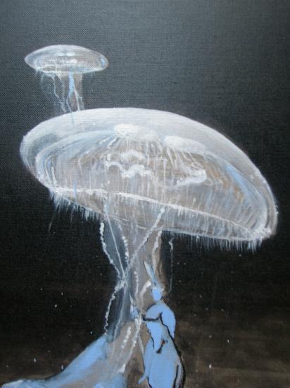 Les méduses. Détail. Acrylique sur lin de Madrid.Format 60 x 73.