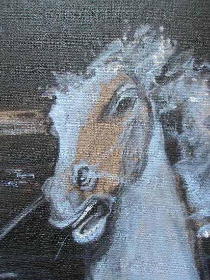 Cheval de lune détail.Acrylique sur lin de Madrid. Format 60 x 73. Juillet 2011