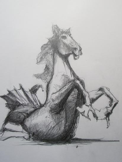 Cheval quinconces . Crayon 2B. Format 29,7 x 42. juillet 2011