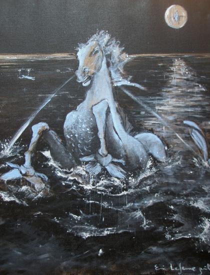 Cheval de lune. Acrymique sur lin de Madrid. Format 60 x 73. Juillet 2011.