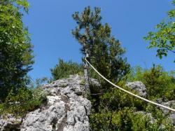 ligne de vie de la cordata du roc des Bouilhères à Meyrueis