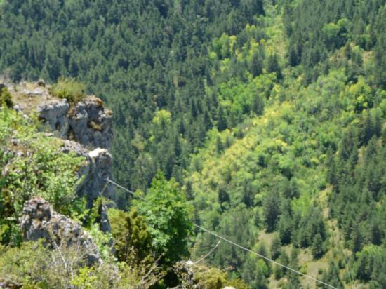 la tyrolienne de la via cordata de Meyrueis