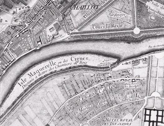 L'île Maquerelle ou des Cygnes, reliée à la rive gauche par le « pont rouge », plan de Roussel, 1730