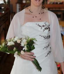 Collier mariage perles Renaissance chocolat et ivoire