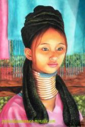 portrait dessin d'une femme girafe au pastel sec