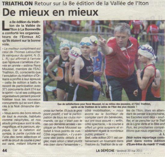 Eac triathlon dans la presse 2011 for Piscine jean bouin evreux