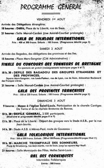 1958 : Programme Festival des cornemuses à Brest.