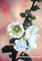 dessin au pastel sec de fleur rose trémière blanche