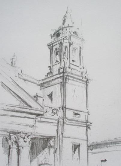 Clocher / cathédrale de Pampelune / 2B / A3/ juillet 2011