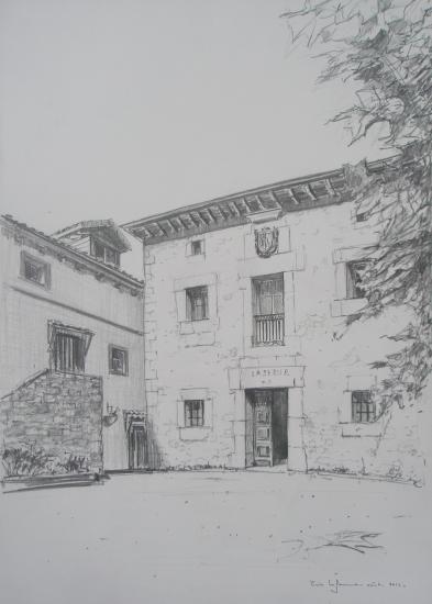 maison à  Otanes. crayon 2B. Format 29,7 x 42. août 2011.