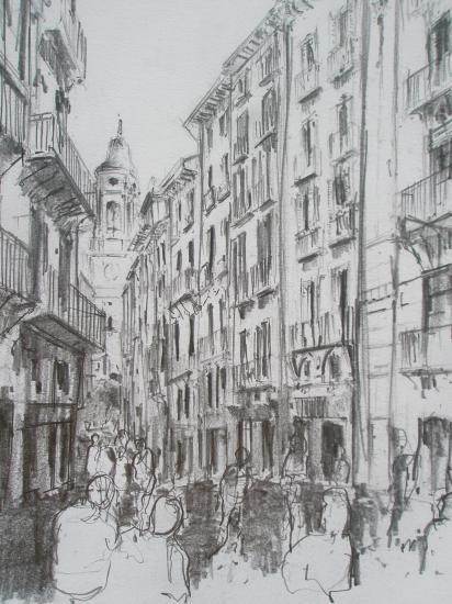 Rue  à Pampelune / crayon 2B  / Format A4 / août 2011