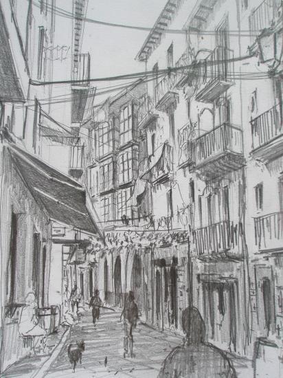 Calle de la Rua/Castro-Urdiales /Crayon 2B/ Format A4/ août 2011.