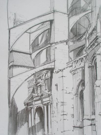 Chevet/ Santa Maria /Castro-Urdiales /Crayon 2B/ Format A4/ août 2011.