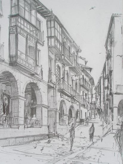 Arcades sur la place/ /Castro-Urdiales /Crayon 2B/ Format A4/ août 2011.
