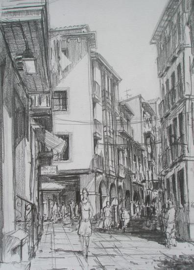 Calle ?/Castro-Urdiales /Crayon 2B/ Format A4/ août 2011.