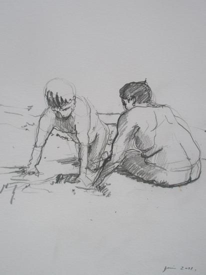 Yanis et josué à la plage / 2B/A4/ juillet 2011