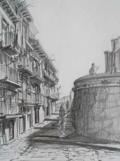 Derrière  le Marinero  /Castro-Urdiales /Crayon 2B/ Format A4/ août 2011.