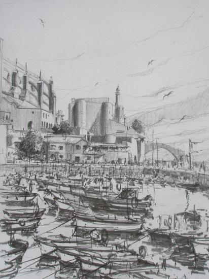 Le port/Castro-Urdiales /Crayon 2B/ Format A4/ août 2011.