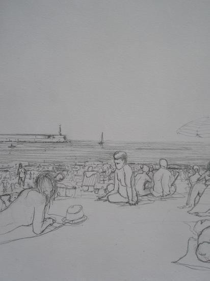 Sur la plage à Castro-Urdiales / Crayon 2B / Format A4.