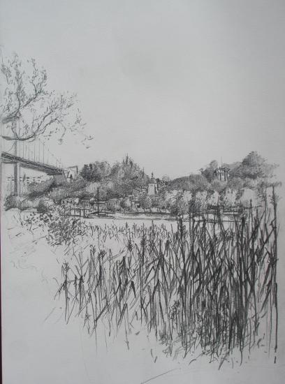 Vue de lormont depuis Bacalan (Claveau)/ Crayon 2B / Format A3 / août 2011