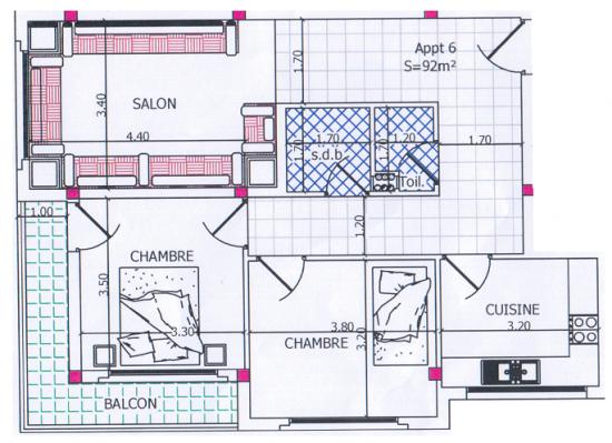 appartement conomique vendre oujda - Plan D Une Maison Marocaine