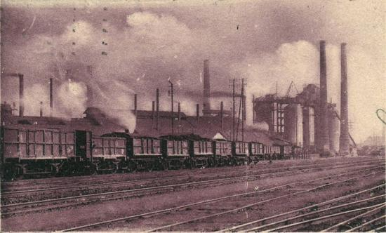 carte postale représentant les Hauts Fourneaux d'Anzin en 1914
