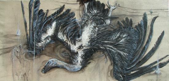 La fin du grand maître. Acrylique sur lin de Madrid. Format 160 x 80 . Août 2011.