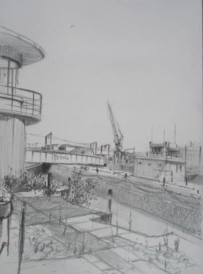 L'écluse Bordeaux/ Crayon 2B/ format A4/ aout 2011