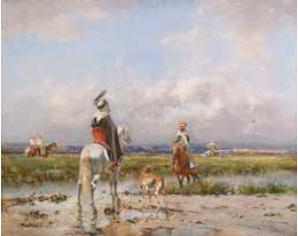 Victor HUGUET (1835-1902). La chasse au faucon.