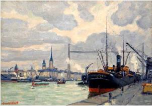 Narcisse GUILBERT (1878-1942). Port de Rouen et le pont transbordeur