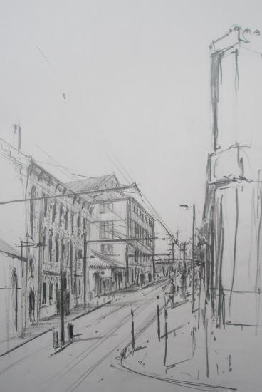 Rue Achard. Bordeaux . Crayon 2B. Format 22 x34. Septembre 2011