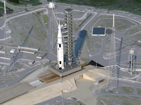 Zone de lancement du lanceur SLS (vue d'artiste)