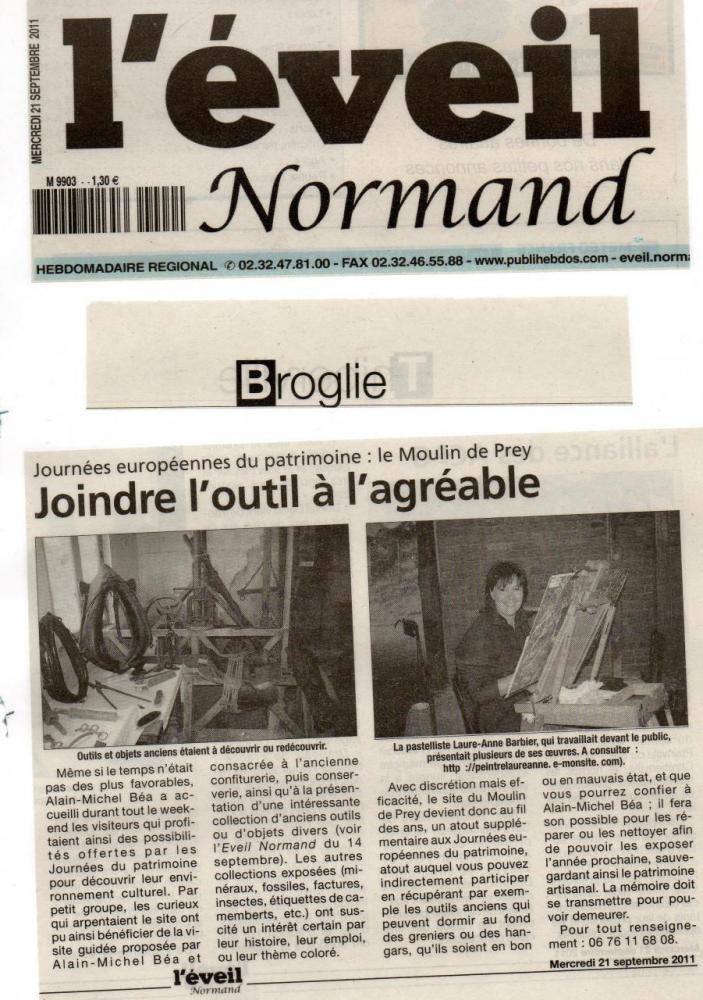 Article de L'Eveil Normand pour le dimanche 18-IX-2011