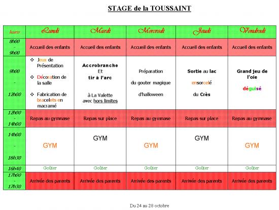 Programme Stage Toussaint 2011